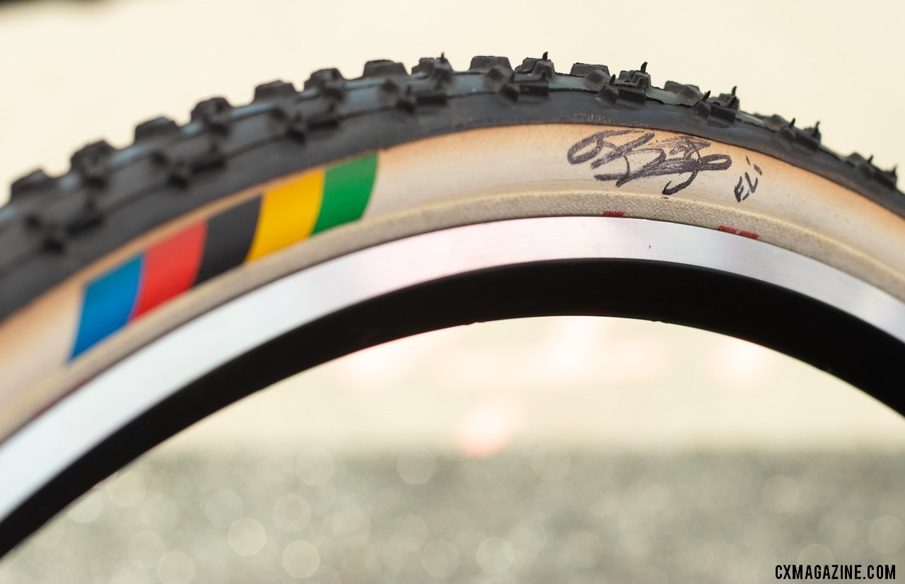 Challenge Tires was showing off one if its cyclocross World Championship-winning tires, autographed by one of 2018 champs, Eli Iserbyt. 2019 Sea Otter Classic. © A. Yee / Cyclocross Magazine
