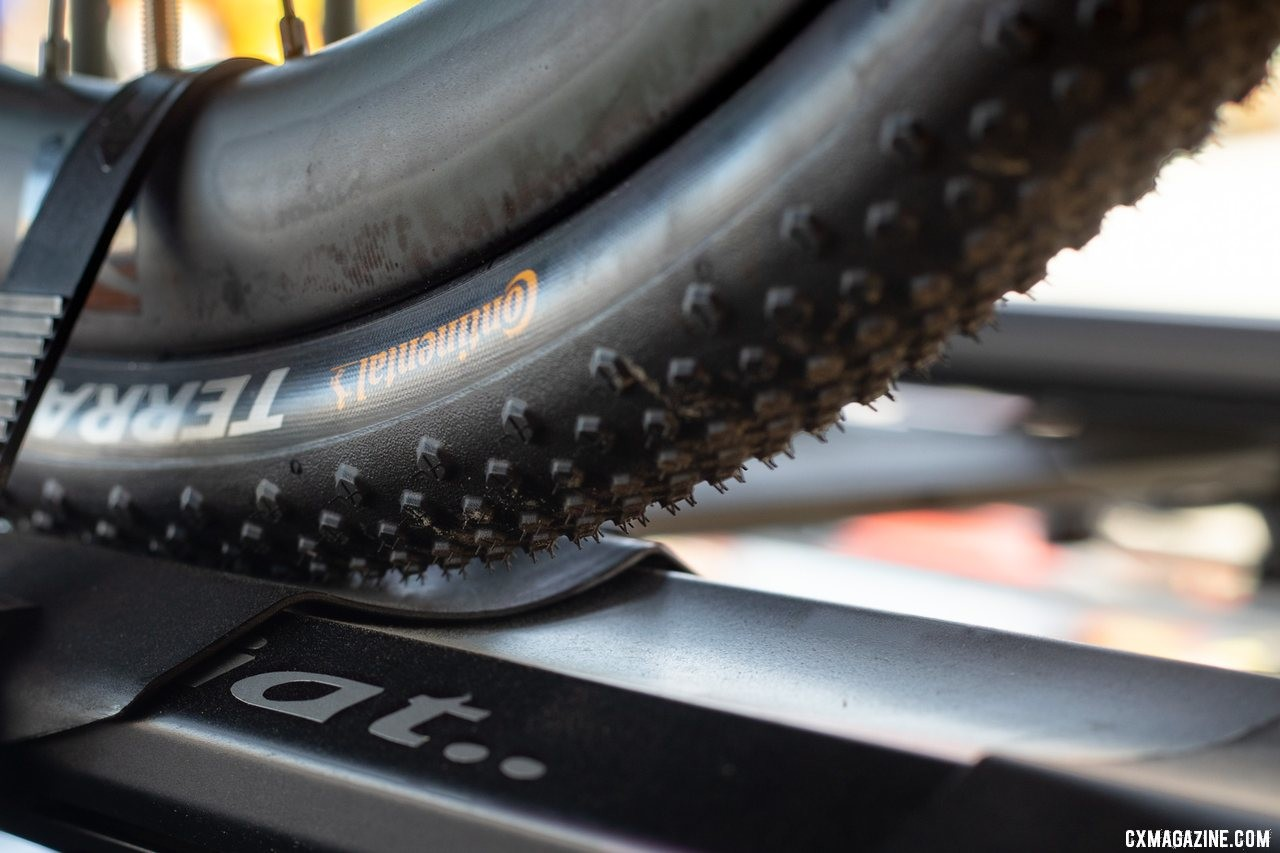 We had to do some snooping to see the new Terra Speed TR gravel tire. Continental Tubeless Tires, 2019 Sea Otter Classic. © A Yee / Cyclocross Magazine