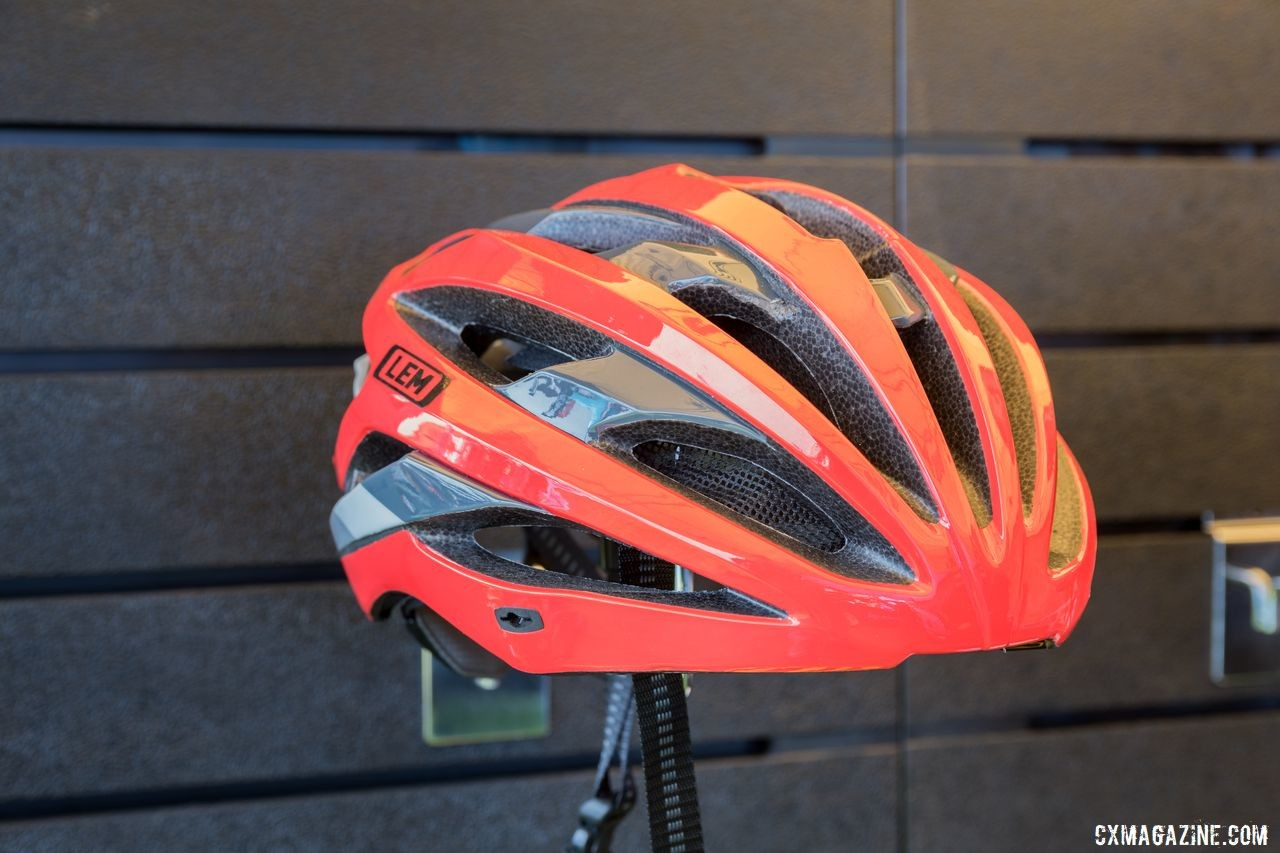 The LEM Gavia is a traditional road helmet with a removable visor. LEM Helmets, 2019 Sea Otter Classic. © C. Lee / Cyclocross Magazine
