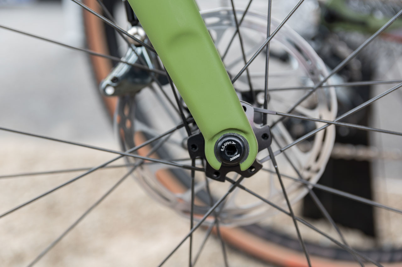 Dropout on the fork of the Look 765 Gravel? It's not for quick release but for compatibility with the Mavic Speed Release system. Look 765 Gravel RS Gravel Bike, 2019 Sea Otter Classic. © C. Lee / Cyclocross Magazine