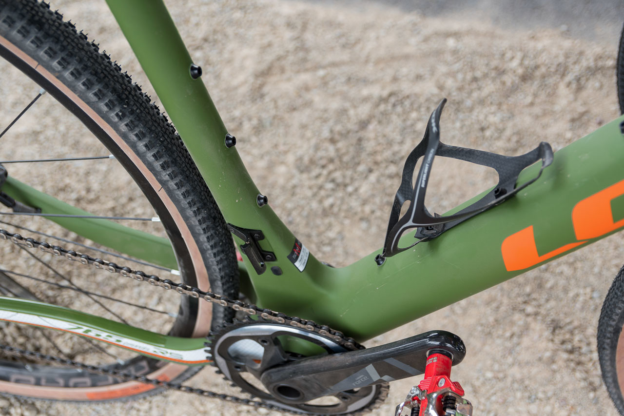 The Look 765 Gravel RS has 4 bottle mounts with 10 bolts to offer bottle position flexibility. Look 765 Gravel RS Gravel Bike, 2019 Sea Otter Classic. © C. Lee / Cyclocross Magazine