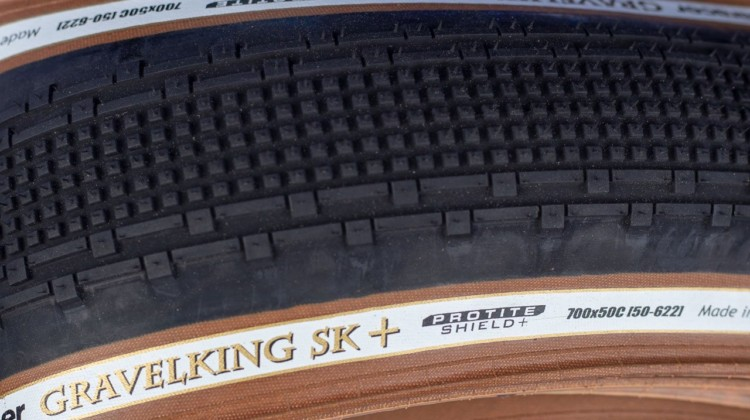 All the standard GravelKing treads are now available in a + (Plus) Protite Shield casing with bead-to-bead puncture protection. 2019 Sea Otter Classic. © A. Yee / Cyclocross Magazine