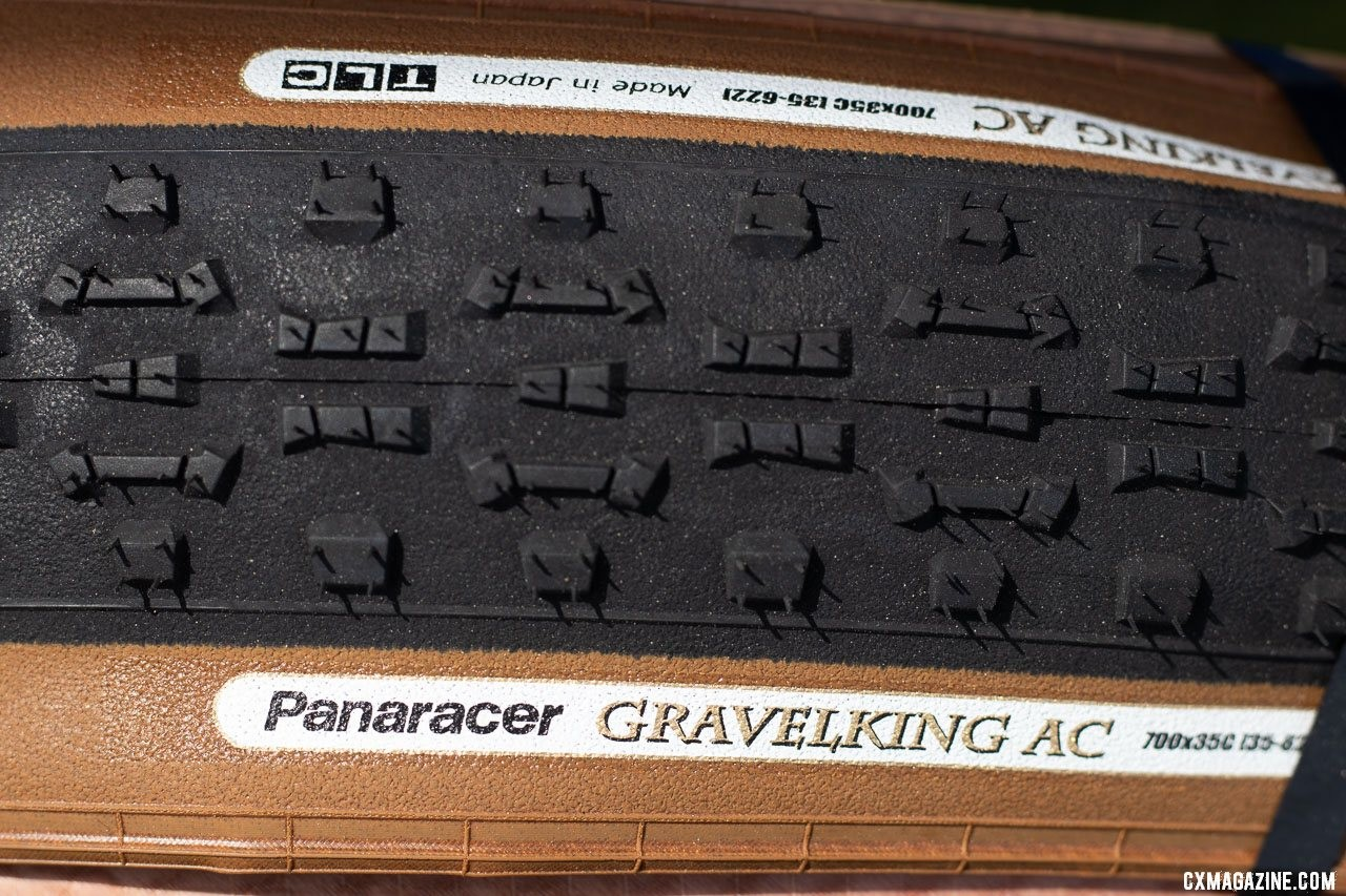 "The Panaracer Regacross tread is now available in a GravelKing tubeless casing, and is now called the AC for ""All Conditions."" 2019 Sea Otter Classic. © A. Yee / Cyclocross Magazine"