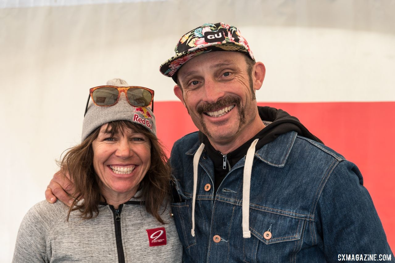 "Rebecca Rusch and Yuri Hauswald were on hand for the launch of the Niner RDO 9 MCR full suspension gravel bike. Both are riding the new bike this summer. Niner Bikes MCR 9 RDO ""Magic Carpet Ride,"" 2019 Sea Otter Classic © C. Lee"