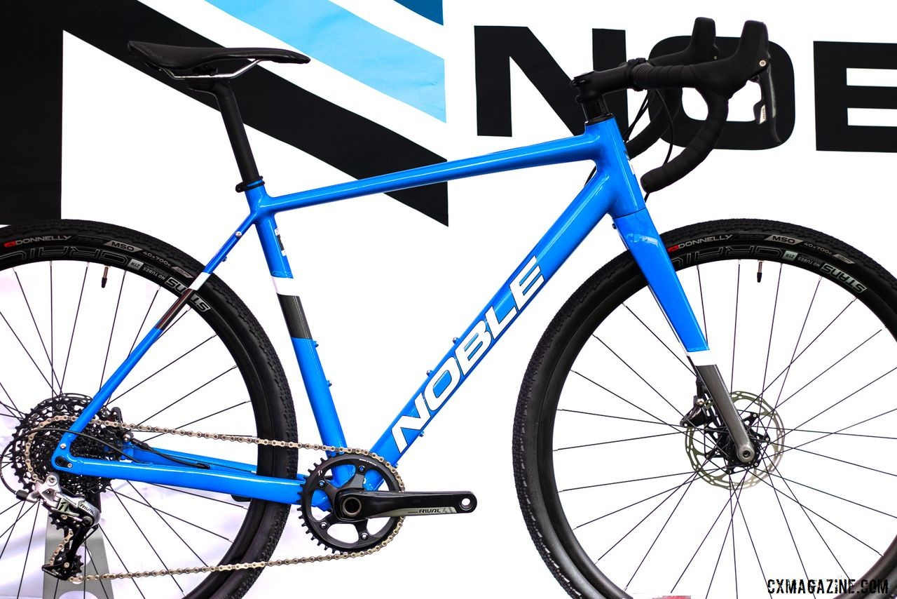 The $1999 Noble GX3 aluminum gravel bike comes with Rival 1, an 10-42 XD cassette, and Stans No Tubes Grail wheels. Noble cyclocross and gravel bikes. 2019 Sea Otter Classic. © A. Yee / Cyclocross Magazine