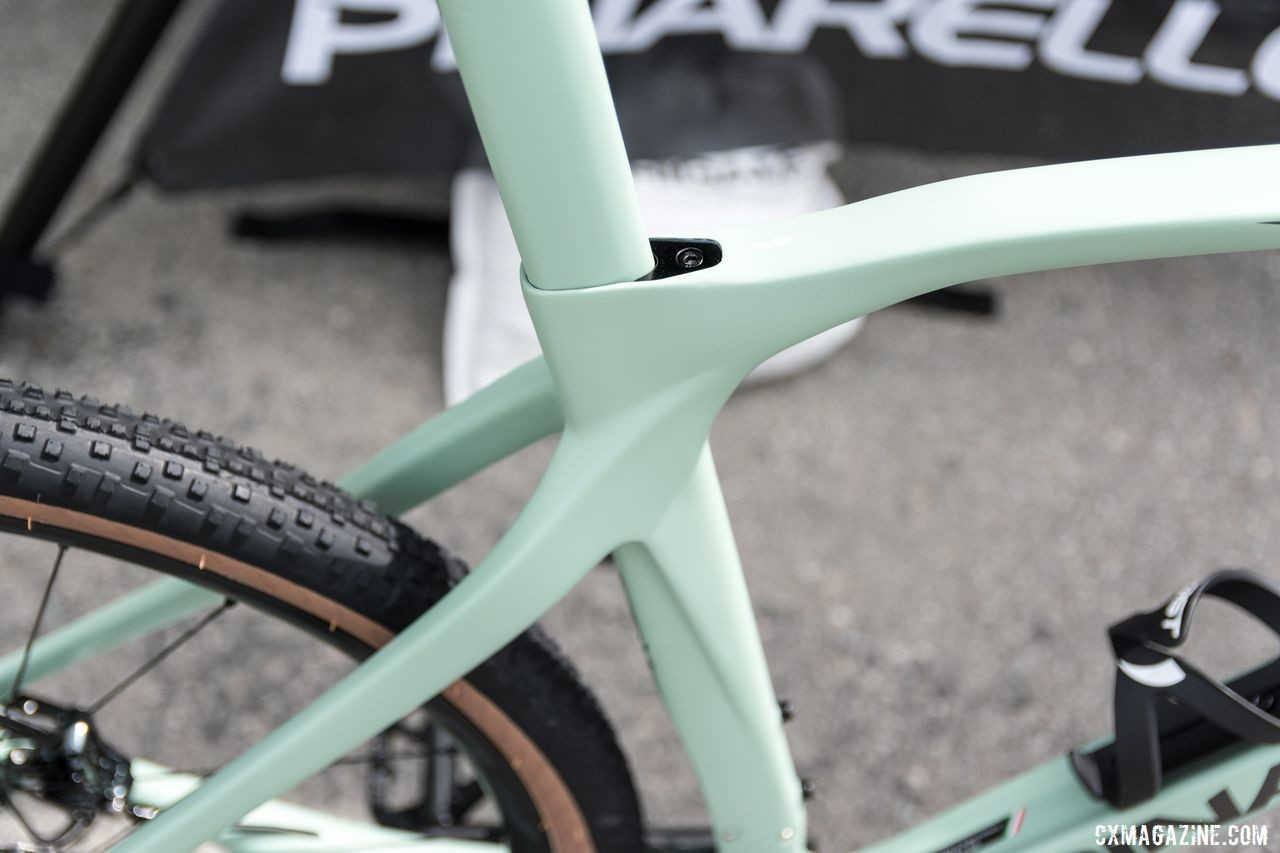 The seatstays on the Grevil are asymmetric and the tubes are ineresting and complicated. Pinarello Grevil Gravel Bike, 2019 Sea Otter Classic. © C. Lee / Cyclocross Magazine