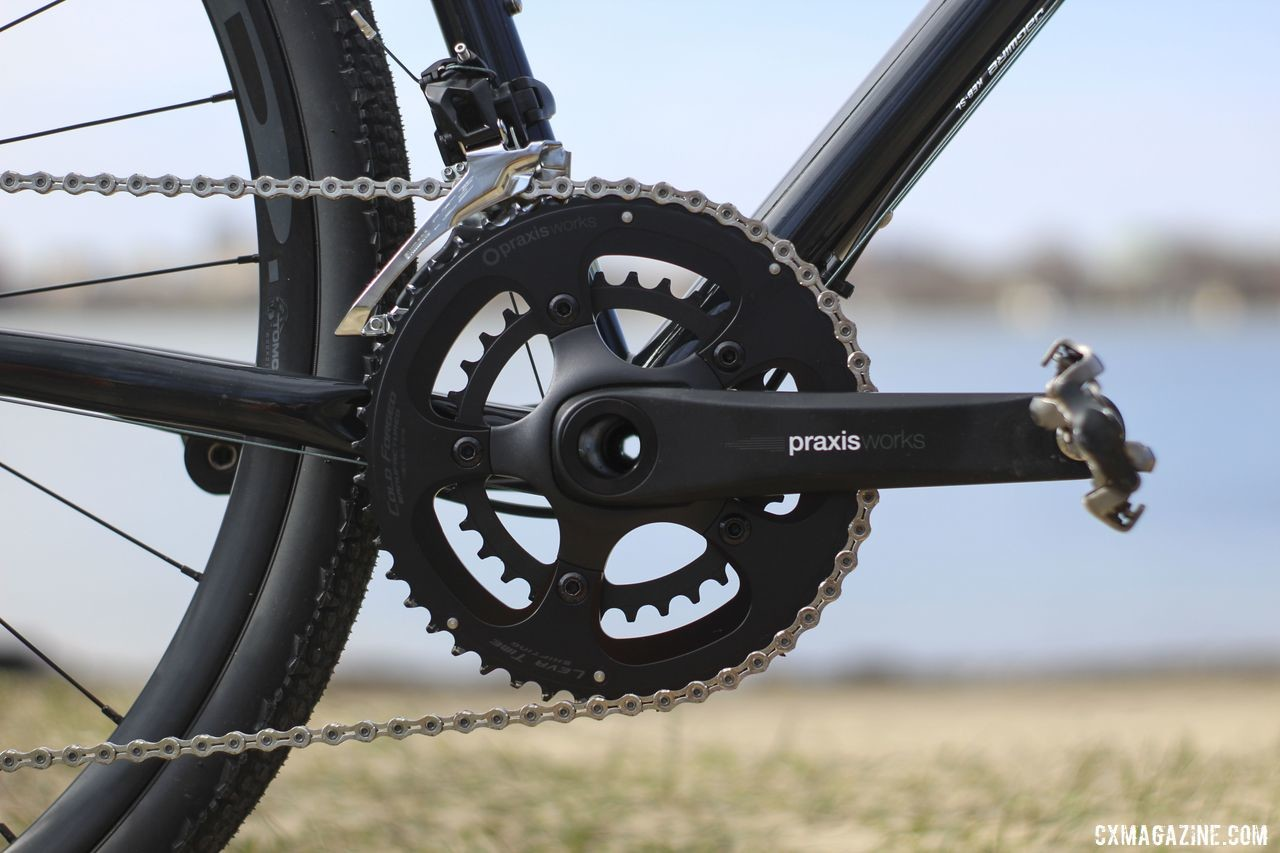 The Praxis Works Alba crankset holds 48/32t chain rings. Raleigh Tamland 1 Steel Gravel Bike. © Z. Schuster / Cyclocross Magazine