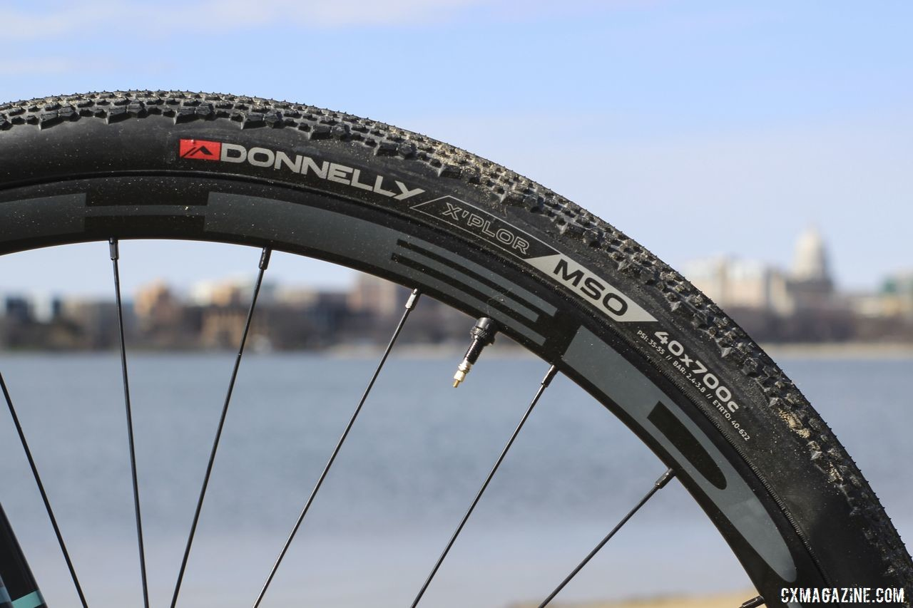 Stock tires are Donnelly X-Plor MSO 700c x 40mm. Raleigh Tamland 1 Steel Gravel Bike. © Z. Schuster / Cyclocross Magazine