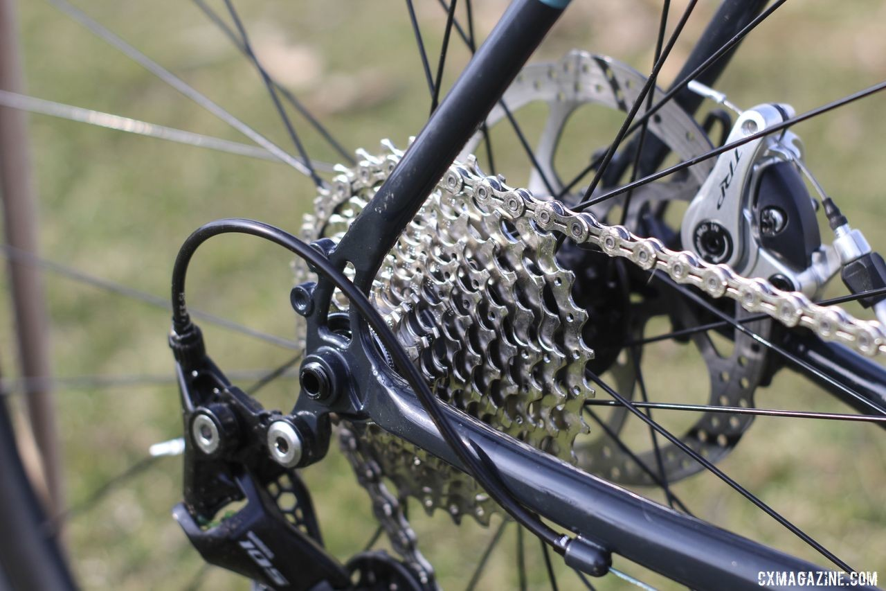 The Tamland 1 comes with an 11-32t Shimano 105 cassette. Raleigh Tamland 1 Steel Gravel Bike. © Z. Schuster / Cyclocross Magazine