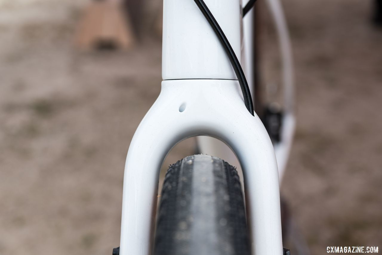 Fork clearance on Warroad with 650b x 47mm tire. The other hole is for a dynamo wire. Salsa Warroad and Journeyman Gravel Bikes, 2019 Sea Otter Classic. © C. Lee / Cyclocross Magazine