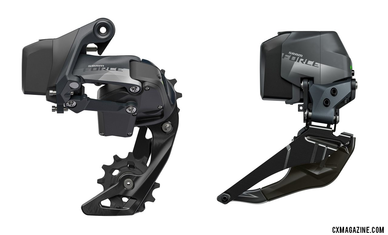 SRAM unveils its new Force eTap AXS component group. The Force derailleurs use heavier, more affordable cage materials.