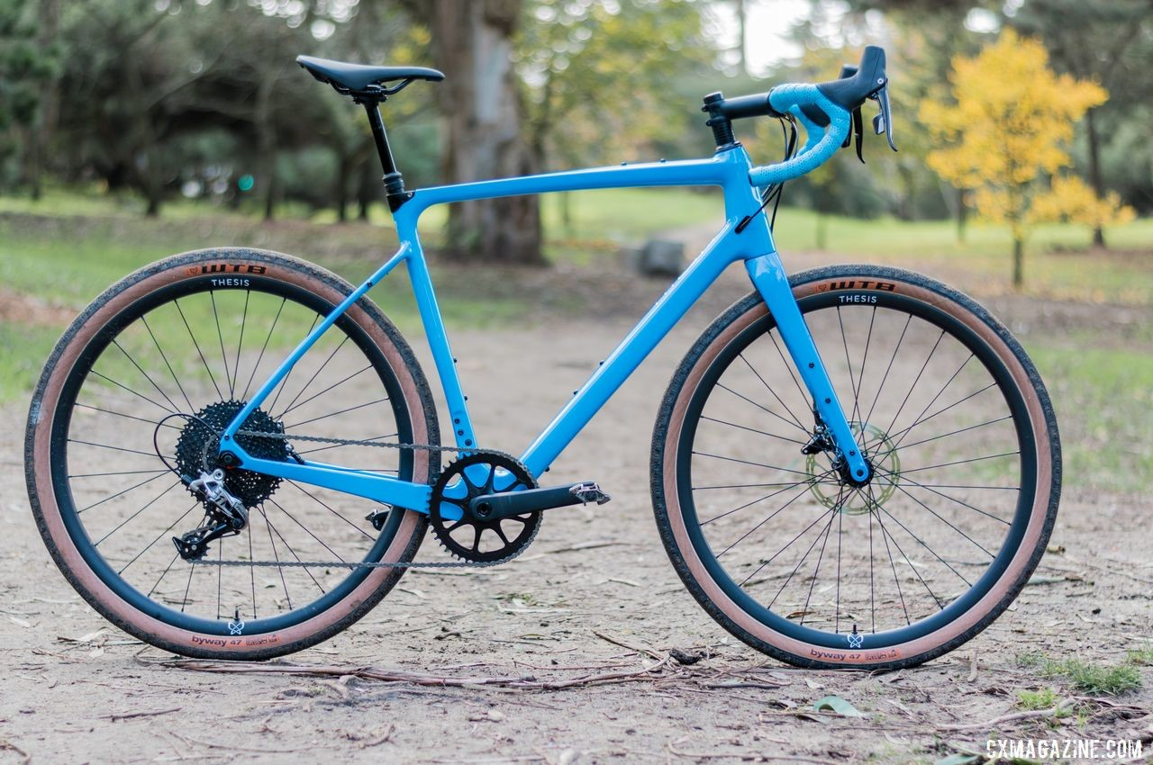 Our demo bike was set up with 650b road-plus tires and a dropper post. Thesis OB1 Do-It-All Carbon Bike. © C. Lee / Cyclocross Magazine