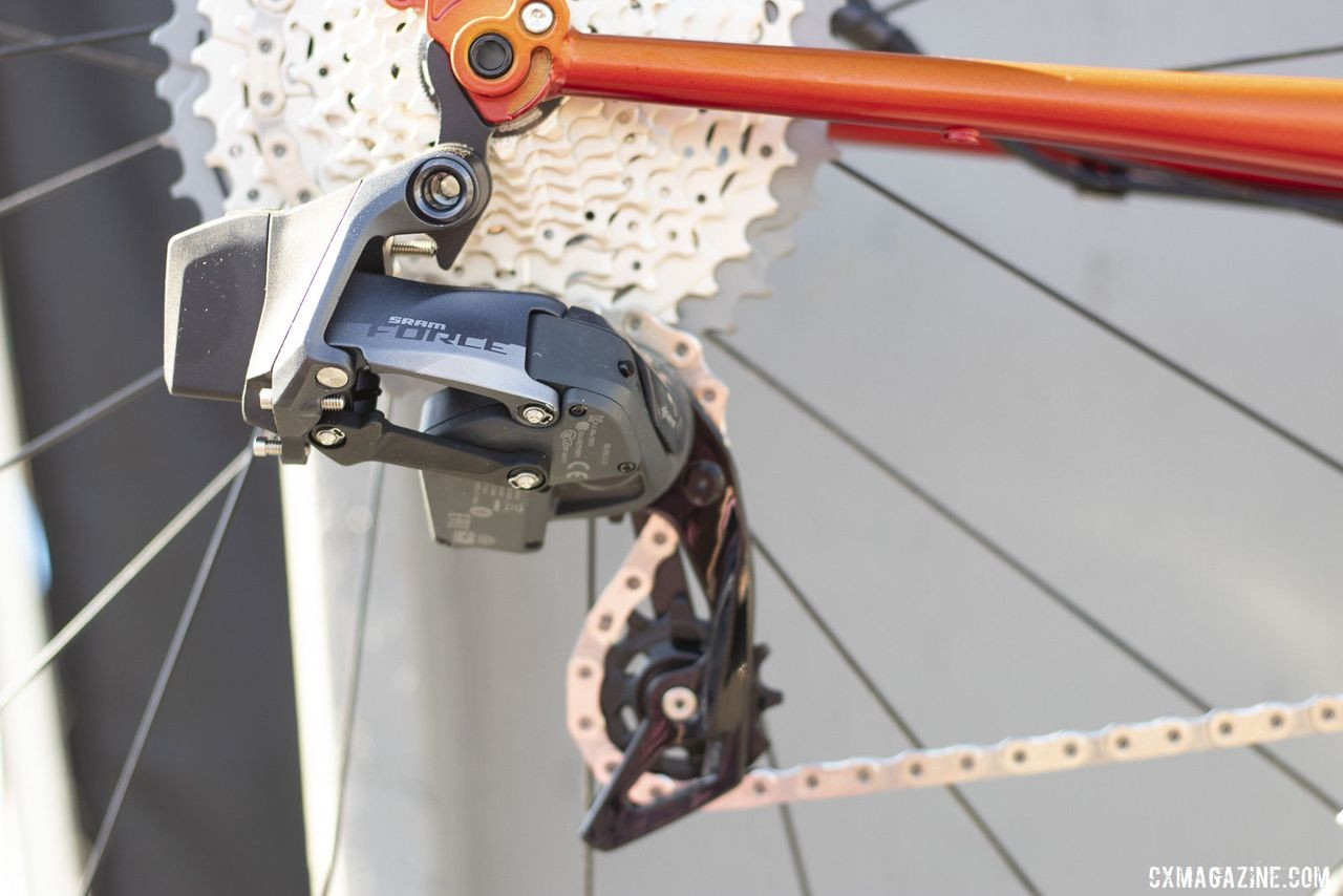 Van Dessel's newest do-it-all bike, the Day Ripper, has a SRAM Force eTAP AXS build option, as shown here. 2019 Sea Otter Classic. © A. Yee / Cyclocross Magazine
