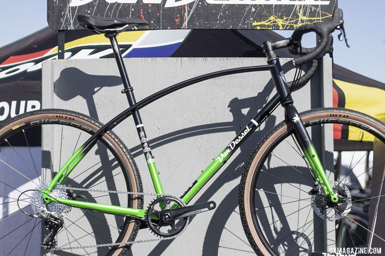 The curvy, steel Van Dessel WTF gets a new black/green fade color scheme. 2019 Sea Otter Classic. © A. Yee / Cyclocross Magazine