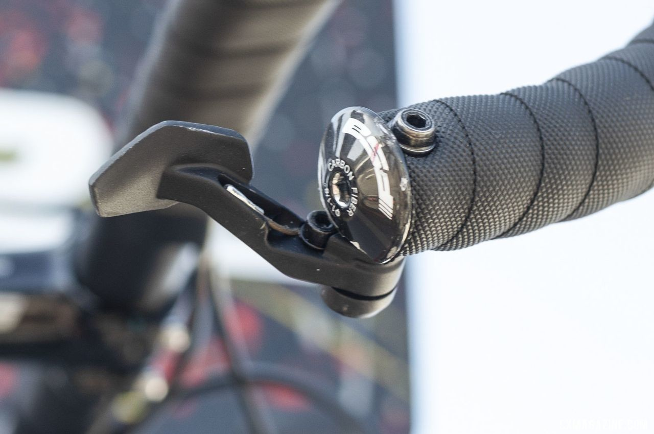 Van Dessel's Day Ripper and the prototype titanium gravel bike featured dropper posts with an FSA dropper post lever. The company is working on its own lever. 2019 Sea Otter Classic. © A. Yee / Cyclocross Magazine