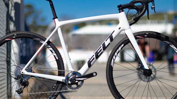 The 2020 Felt Fx | Advanced+ | Force Cx1 cyclocross bike features in white is similar to the white frame Wout van Aert used, but with red and blue accents. The company offers its flagship lighter FRD frame with UHC Extreme carbon as a frameset only. 2019 Sea Otter Classic. © A. Yee / Cyclocross Magazine