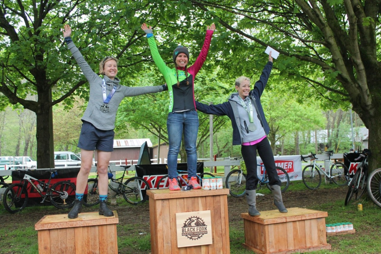 Women's podium. 2019 Black Fork Gravel Grinder, Ohio. © Alecia Simpson