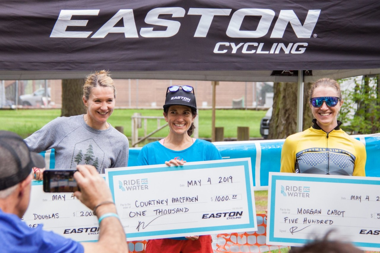 The Women's podium finishers took home a nice pay day. 2019 Ride for Water. © Liam Dueck