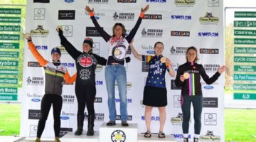 Women's series podium: Ruth Sherman, Anne August and Emily Flynn are top 3. 2019 Hills of High-Tor Gravel Race, New York. © Anne Pellerin