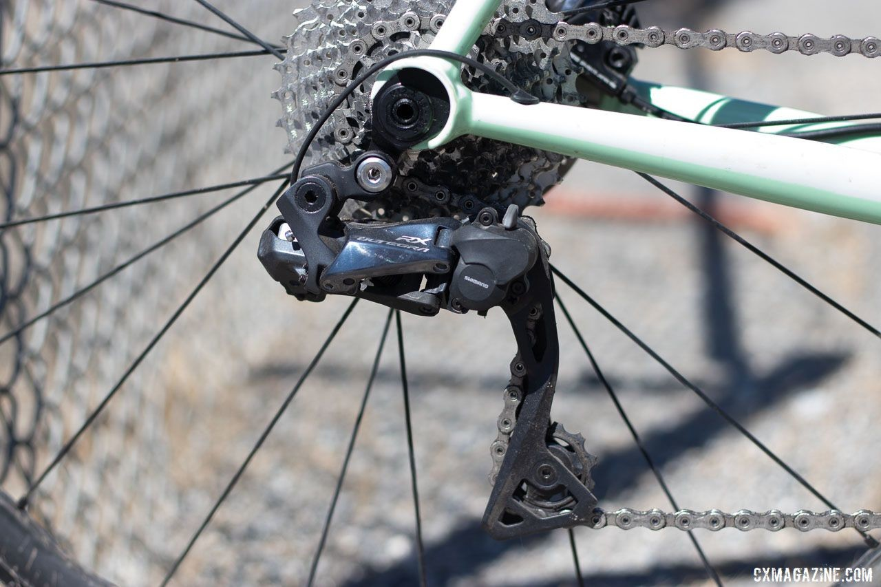 The RX805 rear derailleur offers clutch technology originally developed for use offroad. Aaron Bradford's Rock Lobster team cyclocross bike. 2019 Sea Otter Classic. © A. Yee / Cyclocross Magazine