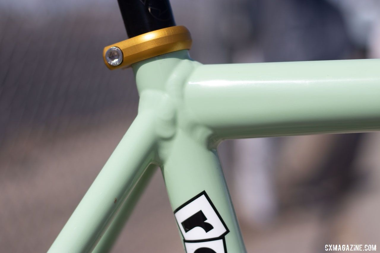 A gold seatpost collar is one of the few parts not made by Shimano. Aaron Bradford's Rock Lobster team cyclocross bike. 2019 Sea Otter Classic. © A. Yee / Cyclocross Magazine