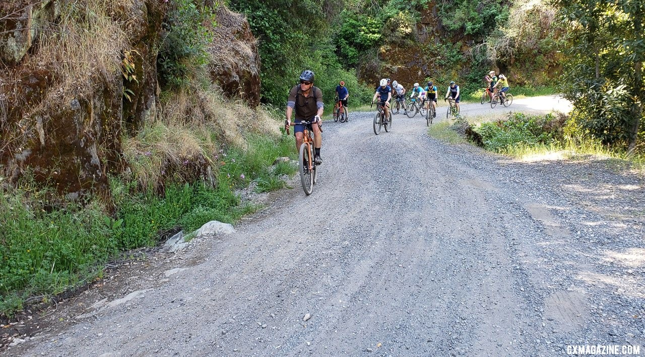 Riders begin the longest gravel climb of the day. 2019 Auburn Dirt Fondo gravel ride. © W. Hawkins / Cyclocross Magazine