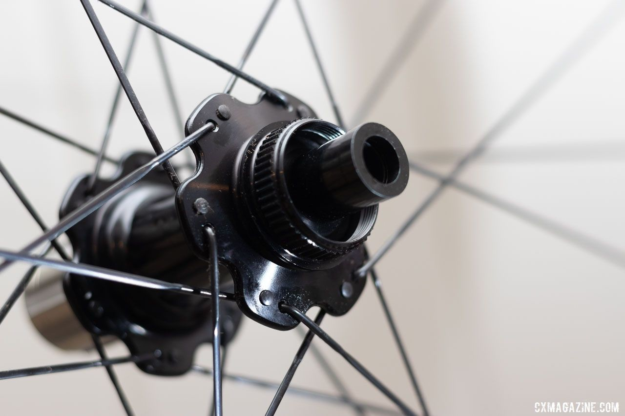 ENVE's new 25mm-wide SES 3.4 AR aero road wheelset comes stock with ENVE alloy hubs, J-bend bladed spokes and Centerlock rotor mounts. 2019 Sea Otter Classic. © A. Yee / Cyclocross Magazine