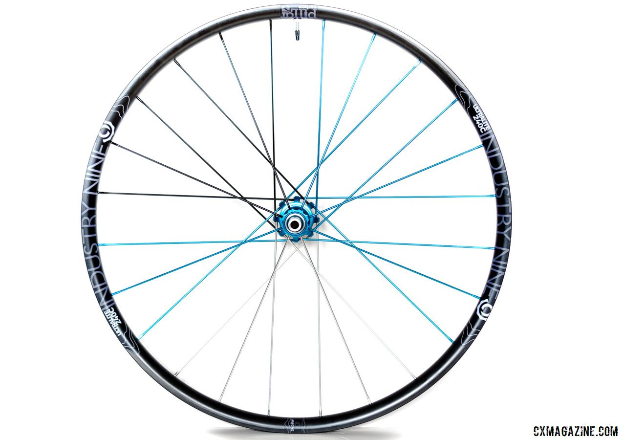 Industry Nine Ultralite 240 TRA Carbon Tubeless Clincher Wheelset features the North Carolina-made hubs, a Reynolds carbon rim and unique alloy direct threaded spokes. The company offers custom colors and aims to please. © C. Lee / Cyclocross Magazine