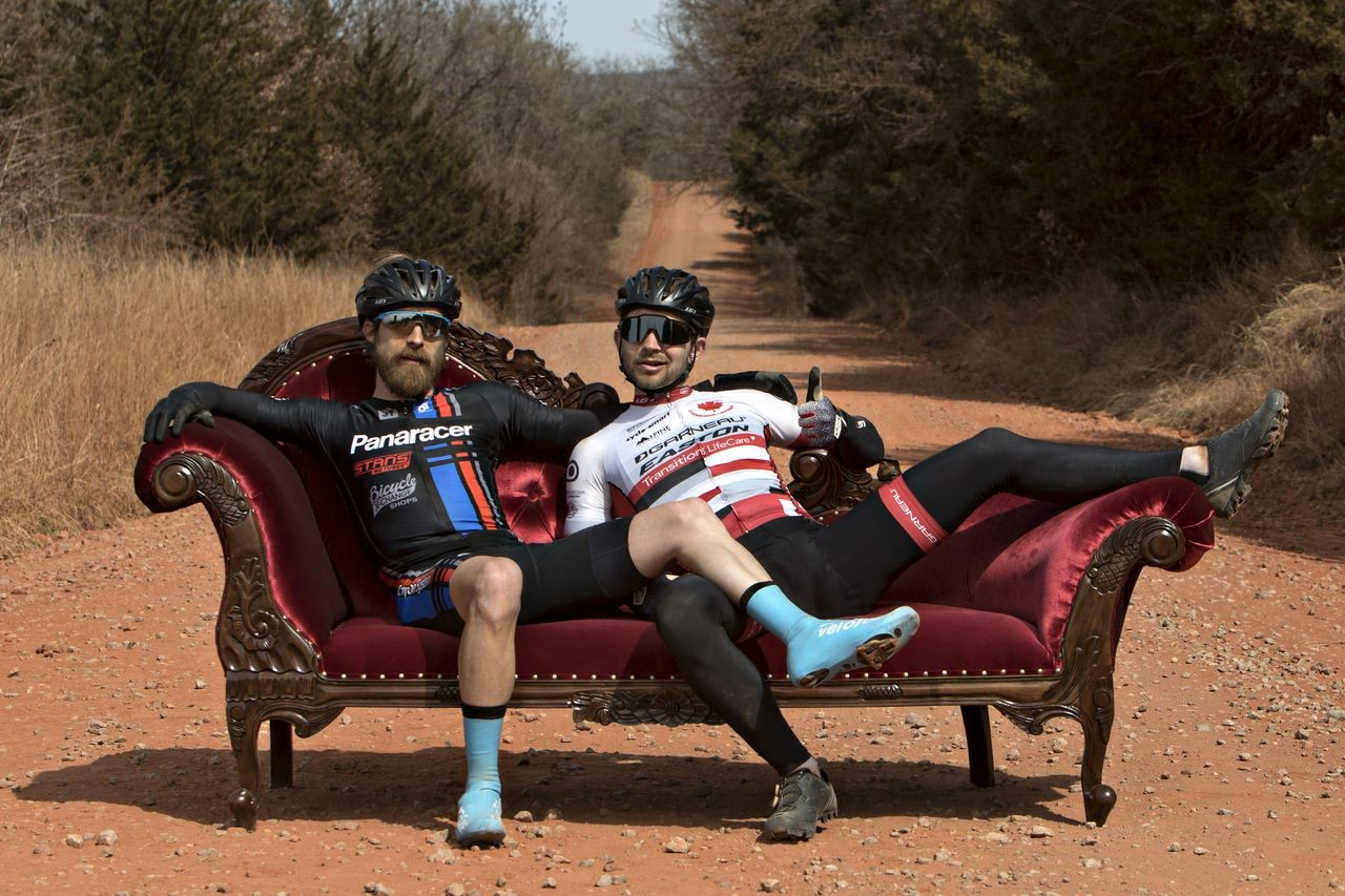 Mat Stephens and Michael van den Ham were the first-ever riders to stop at the Chaise Lounge. Salsa Chase the Chaise Lounge. © Scott Haraldson / Salsa Cycles