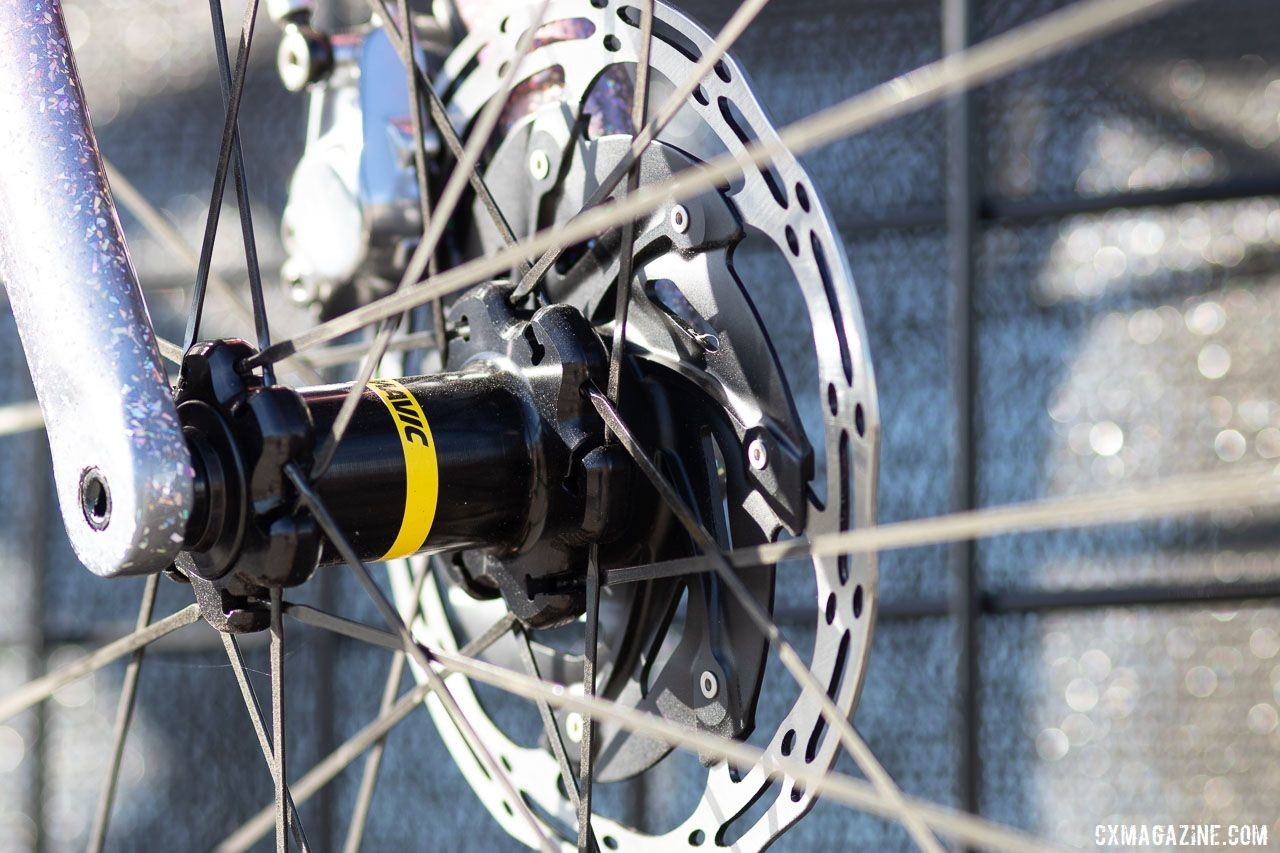 Mavic's new Allroad Pro Carbon SL and SL+ wheelsets feature straight-pull bladed spokes and Centerlock hubs. 2019 Sea Otter Classic. © A. Yee / Cyclocross Magazine
