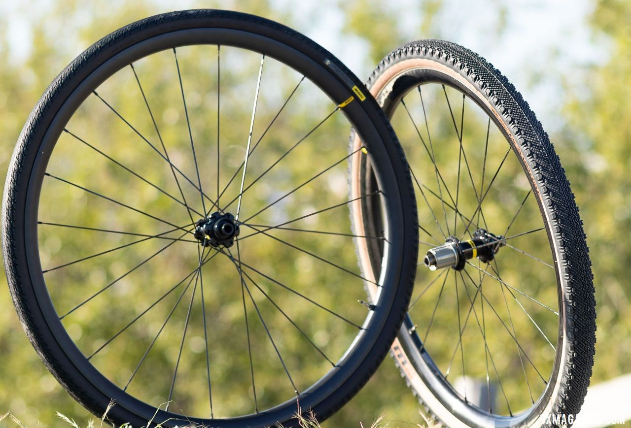 Mavic's new Allroad Pro Carbon SL (700c, left) and SL+ (650b, right) wheelsets. 2019 Sea Otter Classic. © A. Yee / Cyclocross Magazine