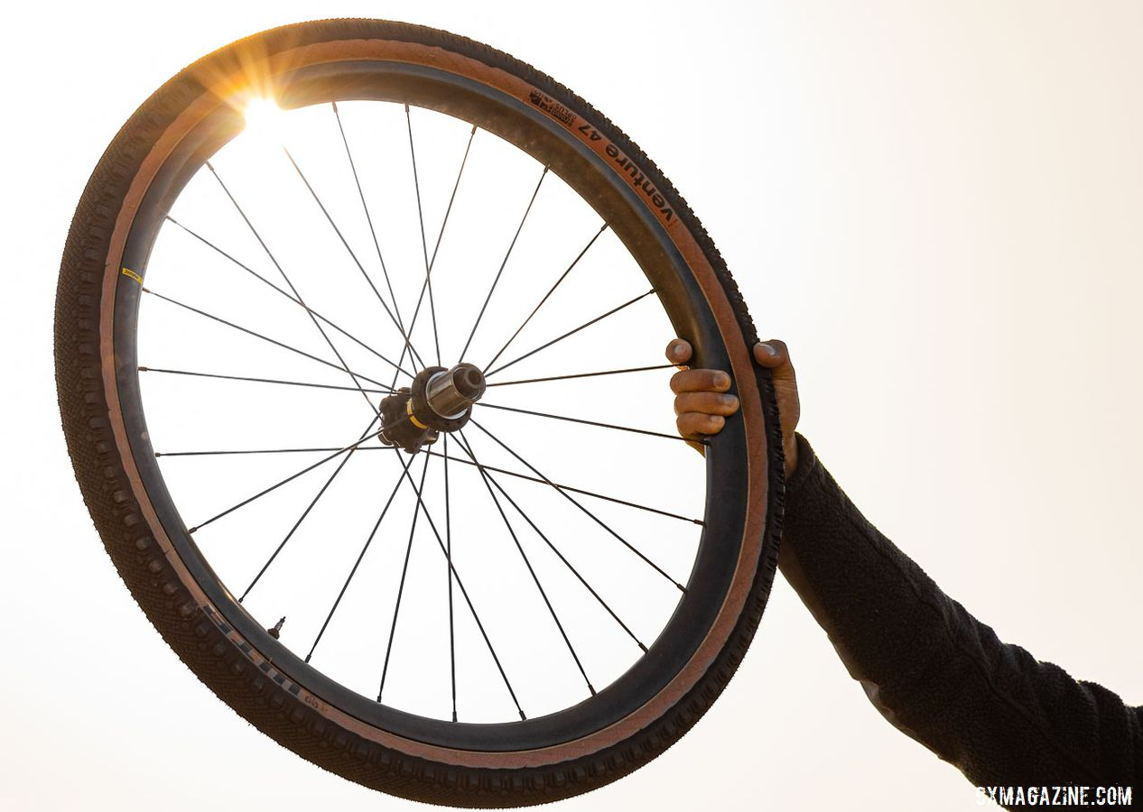 Mavic's new Allroad wheelsets have gone garbon with the Pro Carbon SL+ and SL wheelsets. The SL+ is 26mm wide, while the SL is 23mm wide (internal). 2019 Sea Otter Classic. © A. Yee / Cyclocross Magazine