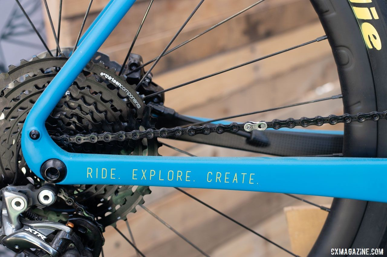 Rodeo Labs Trail Donkey 3.0. offers mounts, icons (ride, explore, create), and carrying capacity to remind you of its versatilty and appetite for adventure. 2019 Sea Otter Classic. © Cyclocross Magazine