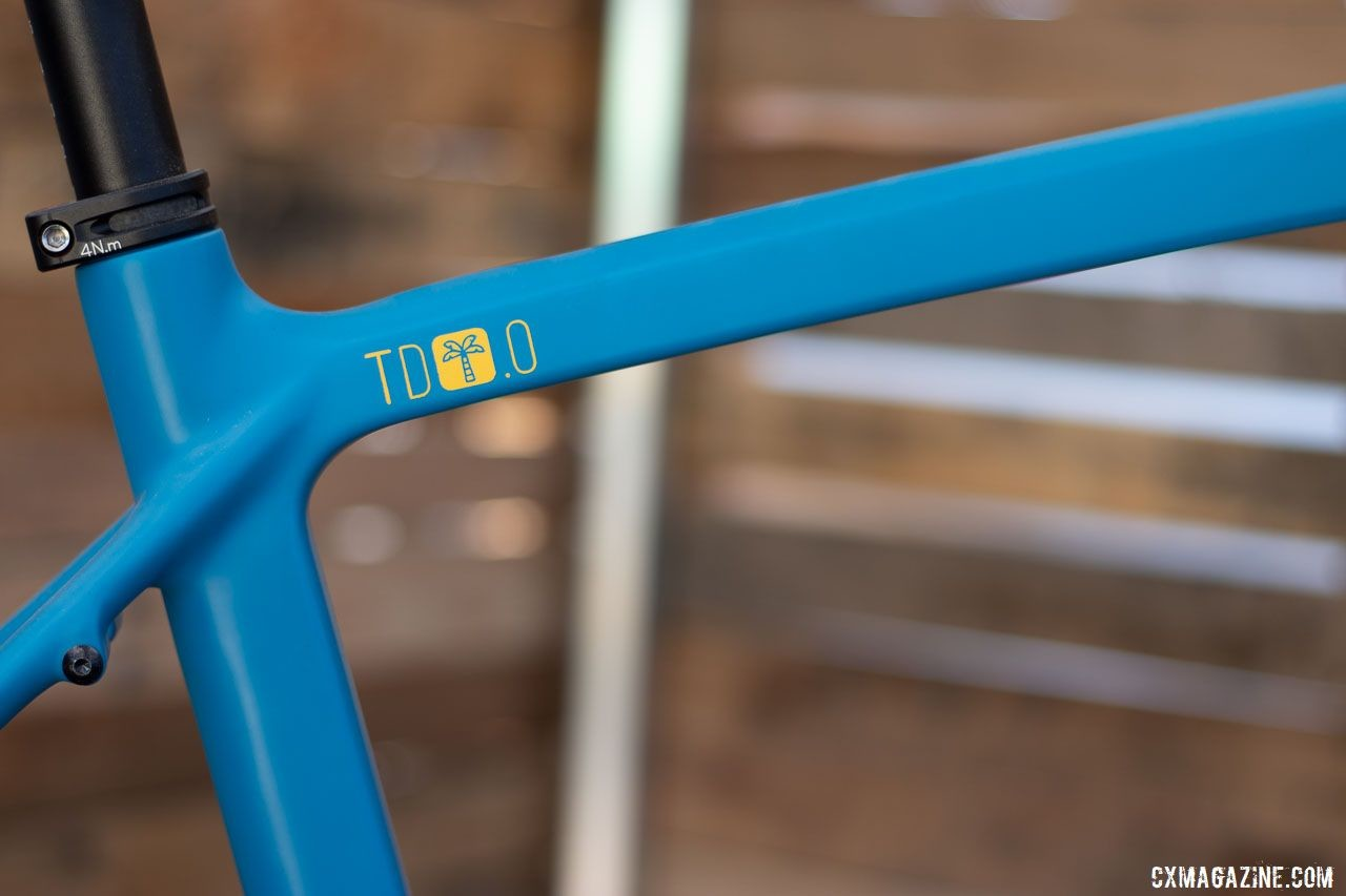 The updated Rodeo Labs Trail Donkey 3.0. brings bigger tire clearance, a Rapha option, and a 250 pound rider weight limit but the geometry is unchanged from the 2.0. 2019 Sea Otter Classic. © Cyclocross Magazine