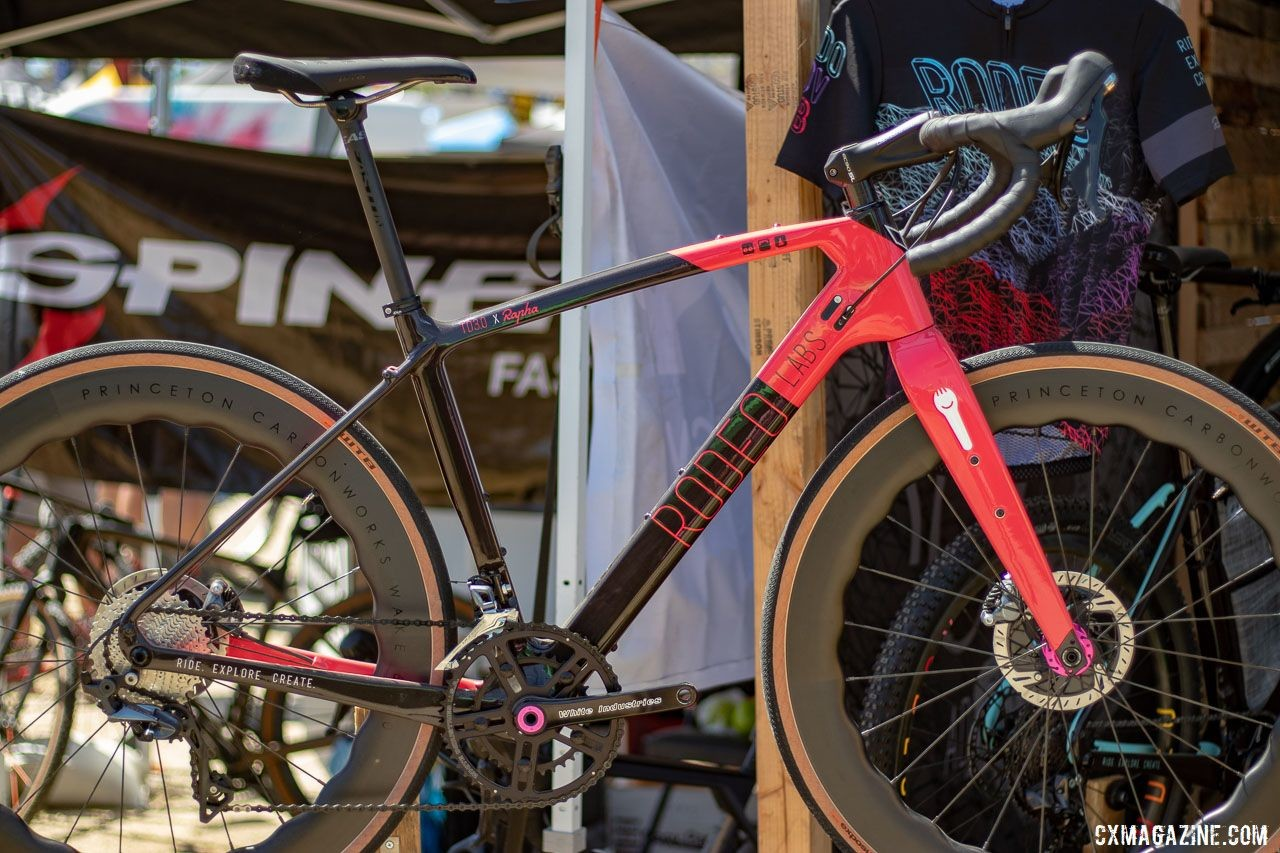 "Rodeo Labs was showing off a Trail Donkey 3.0 Rapha edition. The pink color scheme and ""ex duris gloria"" (glory through suffering) on the chainstay will cost you a cool $200 extra. 2019 Sea Otter Classic. © Cyclocross Magazine"