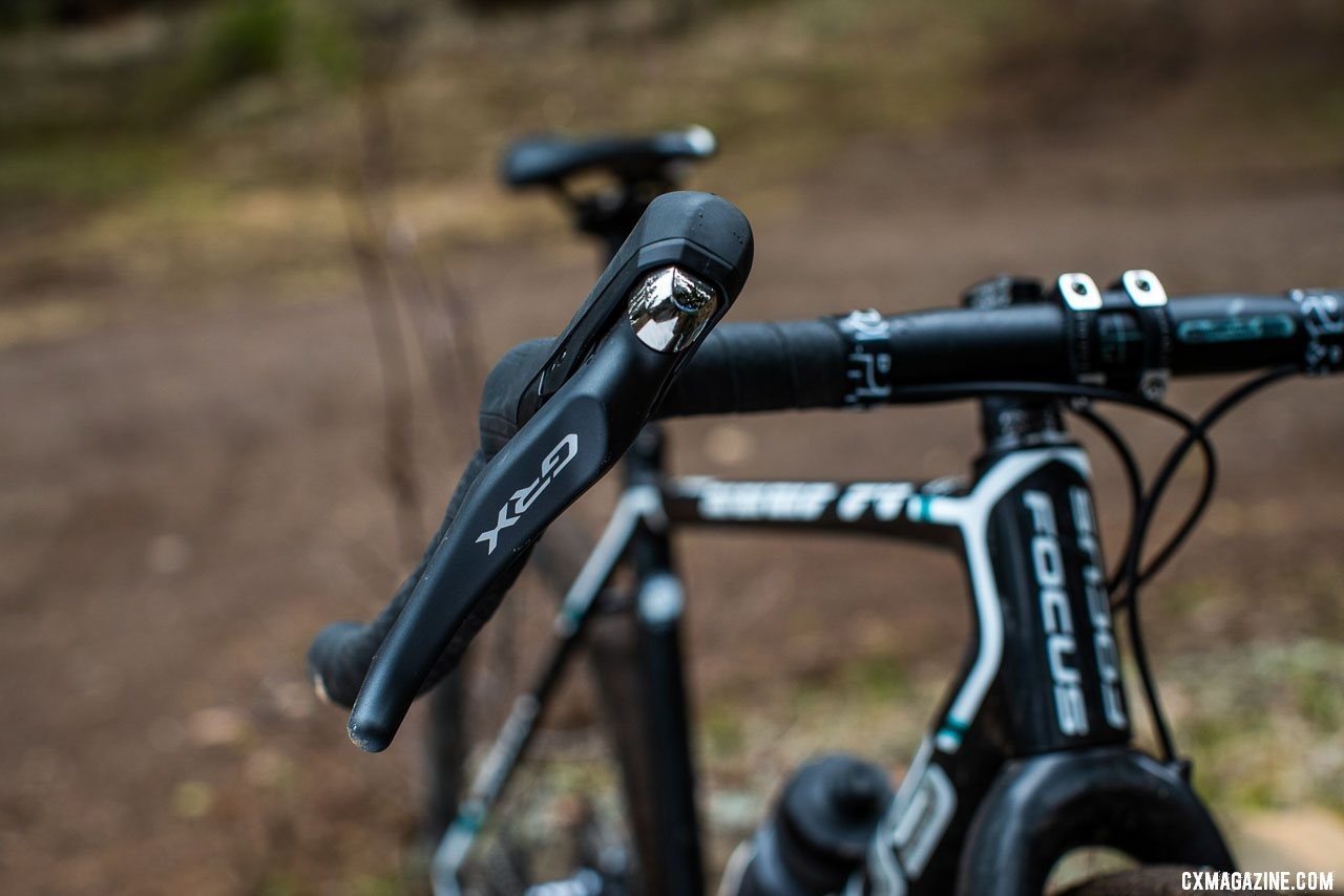 Shimano GRX components feature a reshaped and retextured hood and lever. photo: Sterling Lorence