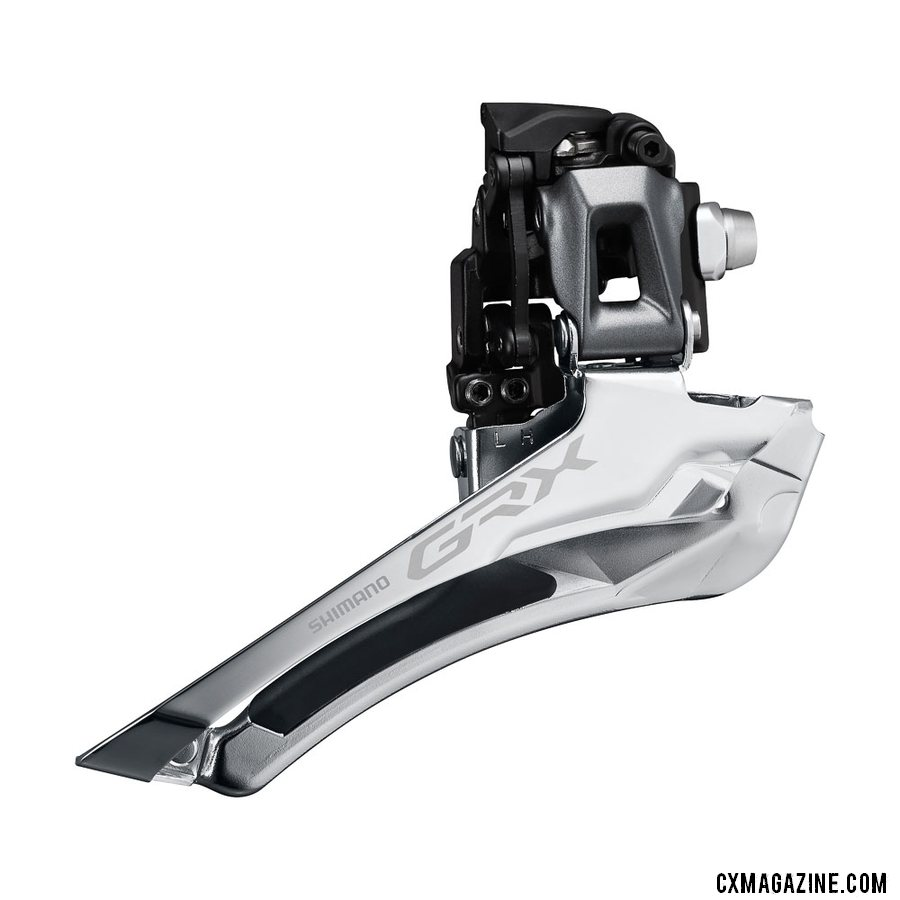 Shimano's new GRX gravel / cyclocross front derailleur is required by the 2x cranksets due to a new +2.5mm chainline.