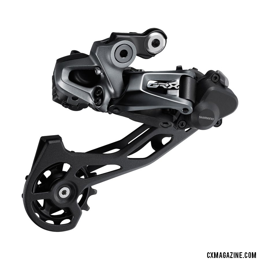 Shimano's new GRX Di2 RX815 gravel / cyclocross Di2 2x rear derailleur accepts rear cogs up to 34t.