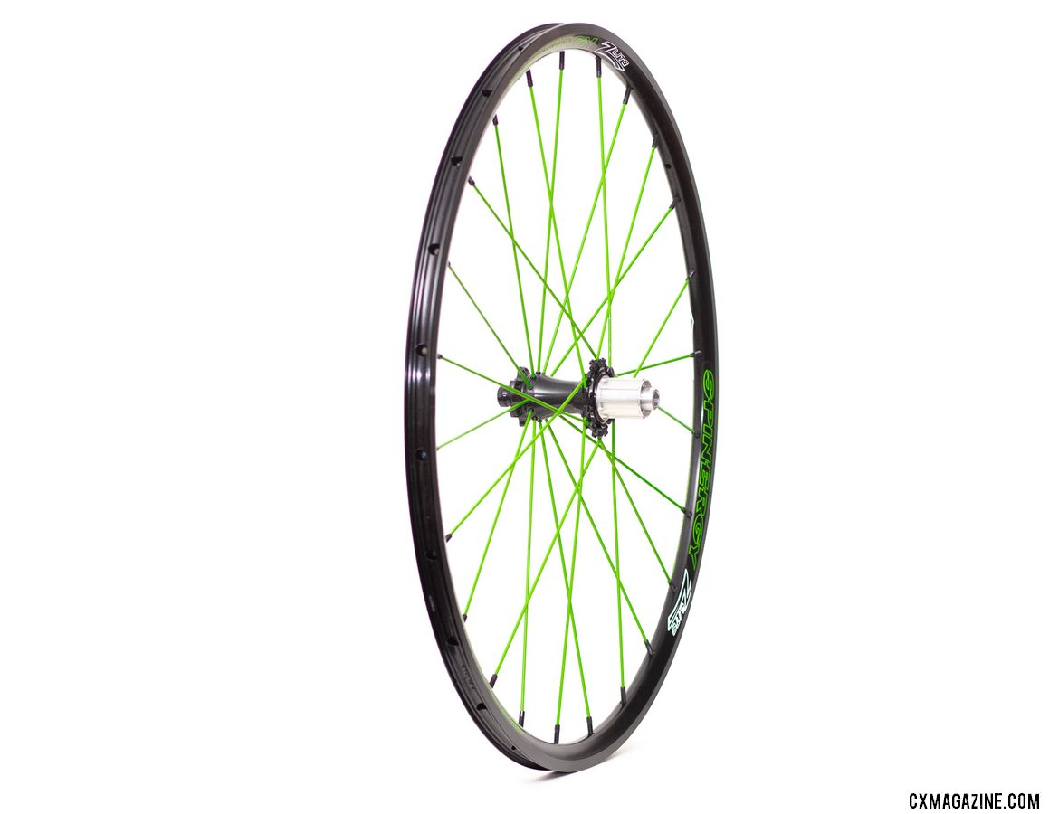 Spinergy's PBO spoke Z Lite Disc wheelset is available in shocking spoke colors, but offers a smooth ride. © Cyclocross Magazine