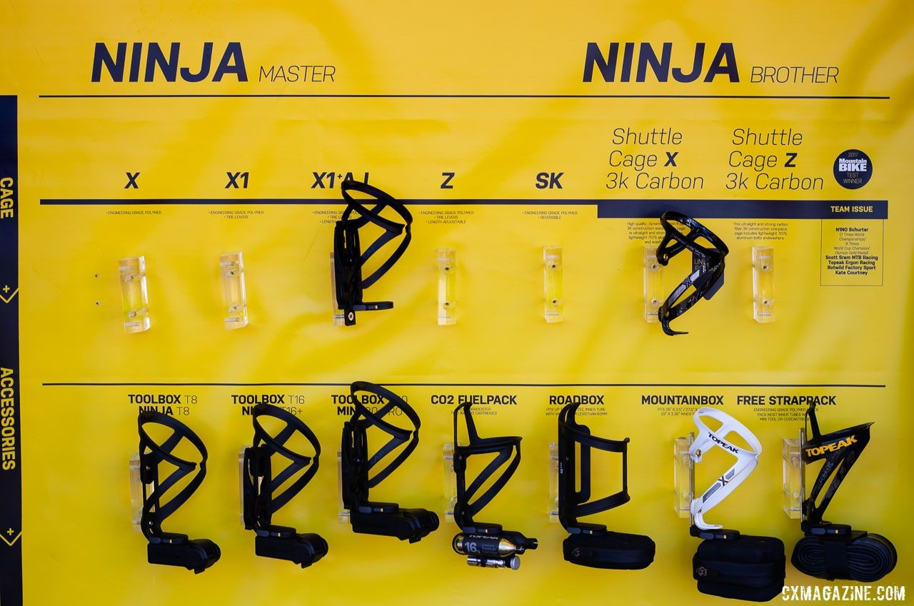 Topeak's expansive Ninja series focuses on survival with hydration and essential tools. © A. Yee / Cyclocross Magazine
