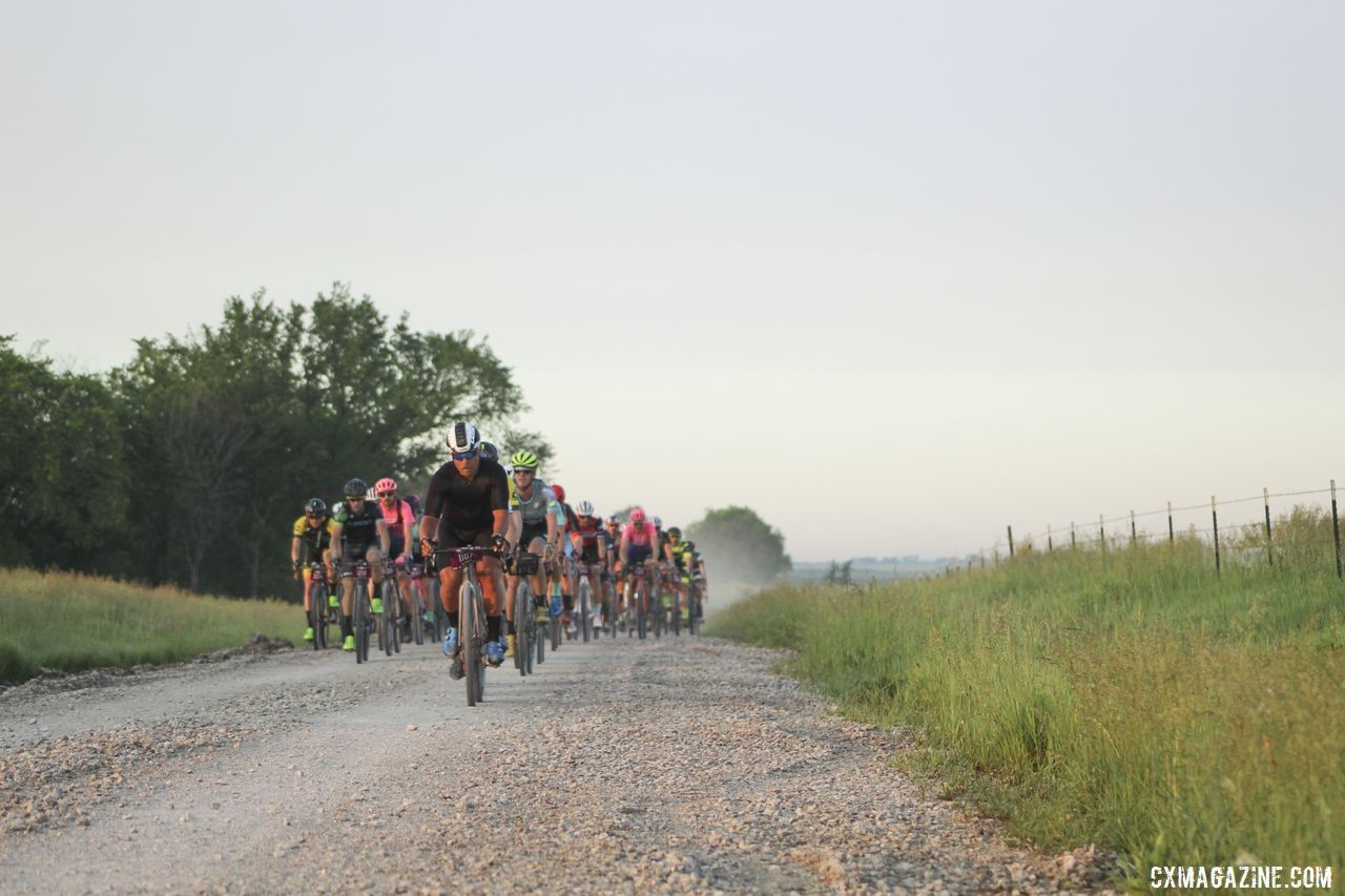 The front group rolls early. 2019 Men's Dirty Kanza 200 Gravel Race. © Z. Schuster / Cyclocross Magazine