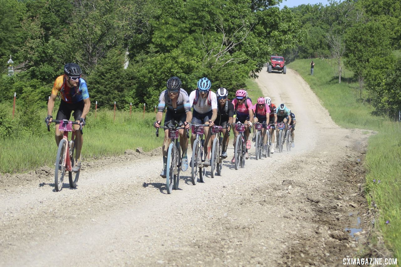 2019 Men's The lead group again shrunk after Alma. 2019 Men's Dirty Kanza 200 Gravel Race. © Z. Schuster / Cyclocross MagazineKanza 200 Gravel Race. © Z. Schuster / Cyclocross Magazine