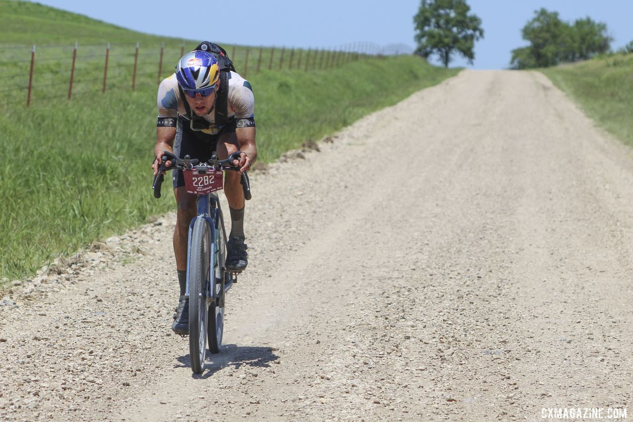 Strickland went solo. No one followed. 2019 Men's Dirty Kanza 200 Gravel Race. © Z. Schuster / Cyclocross Magazine