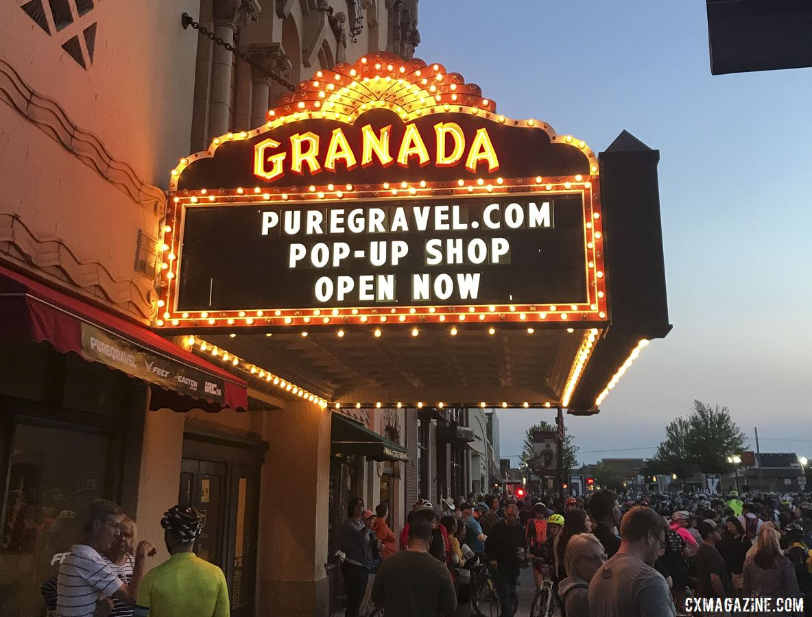 The Granada Theater is a focal point in Emporia. Mark Symns Rider Diary, 2019 Dirty Kanza 200. © M. Symns / Cyclocross Magazine