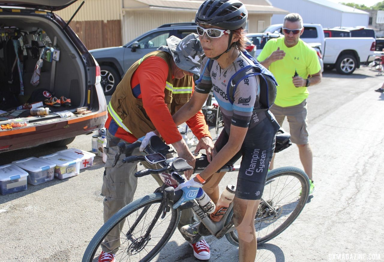 Kae Takeshita and her husband Dan take the van to Utah for the Crusher this week. 2019 Dirty Kanza 200 Gravel Race. © Z. Schuster / Cyclocross Magazine
