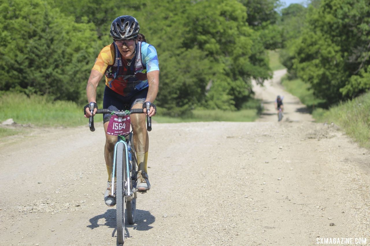 Despite a devastating flat, Olivia Dillon came away from the 2019 DK200 with a positive trip. 2019 Dirty Kanza 200 Gravel Race. © Z. Schuster / Cyclocross Magazine