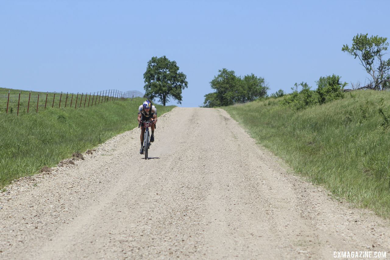 We caught Strickland at one spot where he was not on the aero bars. 2019 Dirty Kanza 200 Gravel Race. © Z. Schuster / Cyclocross Magazine