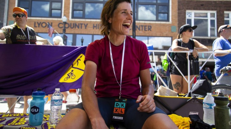 Lael Wilcox at the finish of the DKXL 2019. Wilcox was the first female finisher and placed sixth overall in the DKXL with a time of 23:51:37. © Rugile Kaladyte