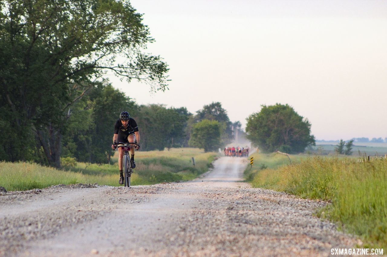 Matt Charity went full send in front of the main pack at Mile 20. 2019 Dirty Kanza 200 Gravel Race. © Z. Schuster / Cyclocross Magazine