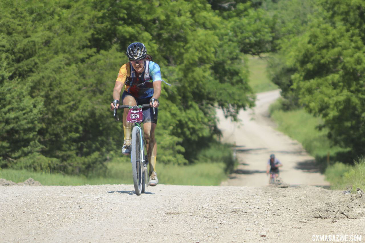 Dillon had to chase a bit after stopping to fix her saddle. 2019 Dirty Kanza 200 Gravel Race. © Z. Schuster / Cyclocross Magazine